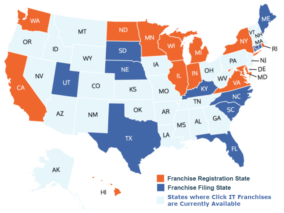 States Where Click IT Franchises Can Be Sold